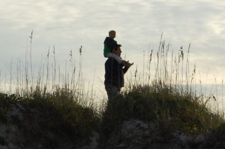 Alec Catching a View of Rich Inlet on Dad's Shoulders